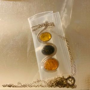 Sterling Silver Tri-Color Amber Necklace